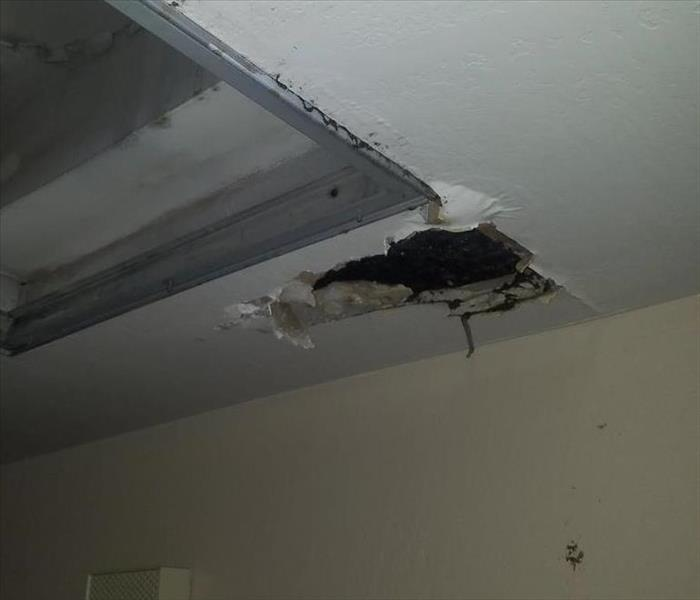 Hole in the ceiling from a water leak